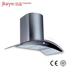 90CM SS arc type range hood , popular arc-shape cooker hoods with curved glass canopy JY-AP9004
