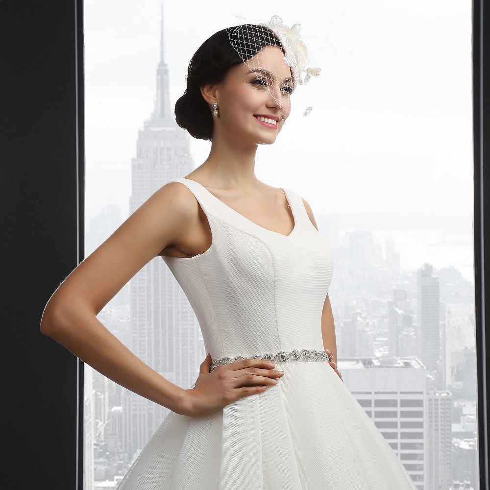 SL-3012 V-neck Backless Sleeeless Belt Wedding Dress