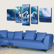 5 panel HD printed canvas print painting running horses in the river Home Decor Wall art Pictures For Living Room