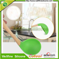 FDA approved silicone cooking spoon utensils Solid Spoon with wooden handle