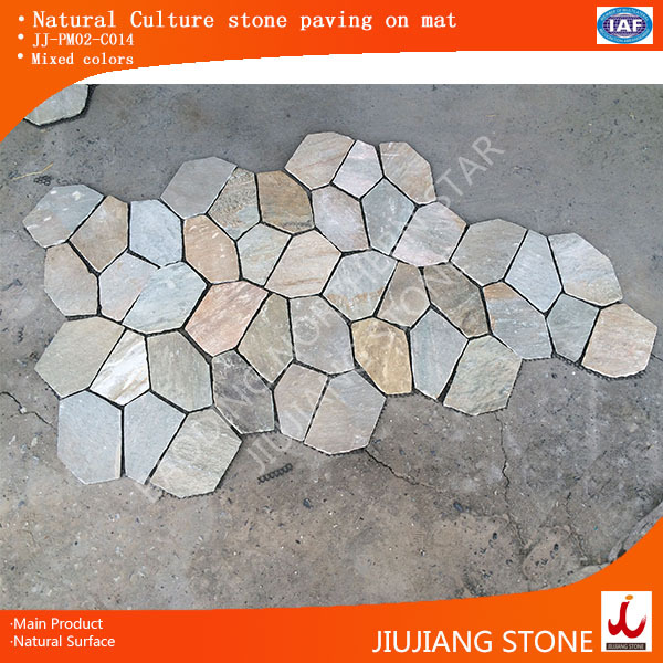 Natural culture slate interlocking stone walls mixed colors for exterior construction