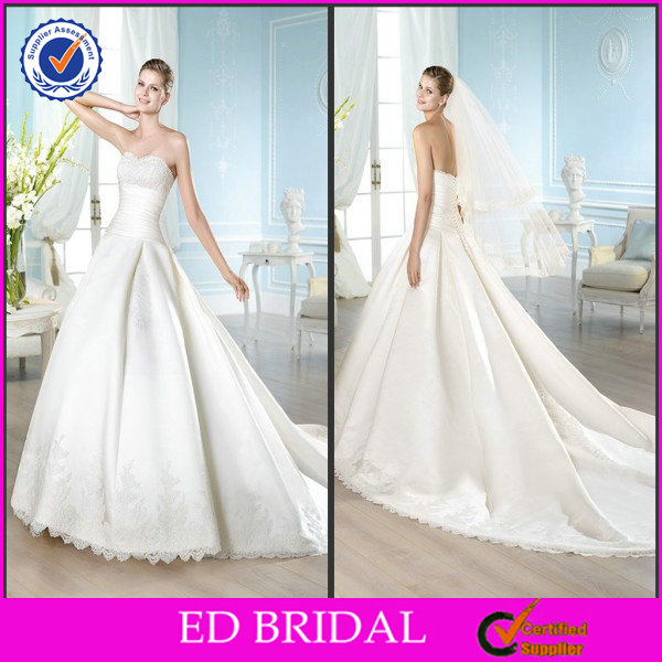 EDW333 Luxury Strapless Lace High Waisted Cathedral/ Royal Train Wedding Dresses