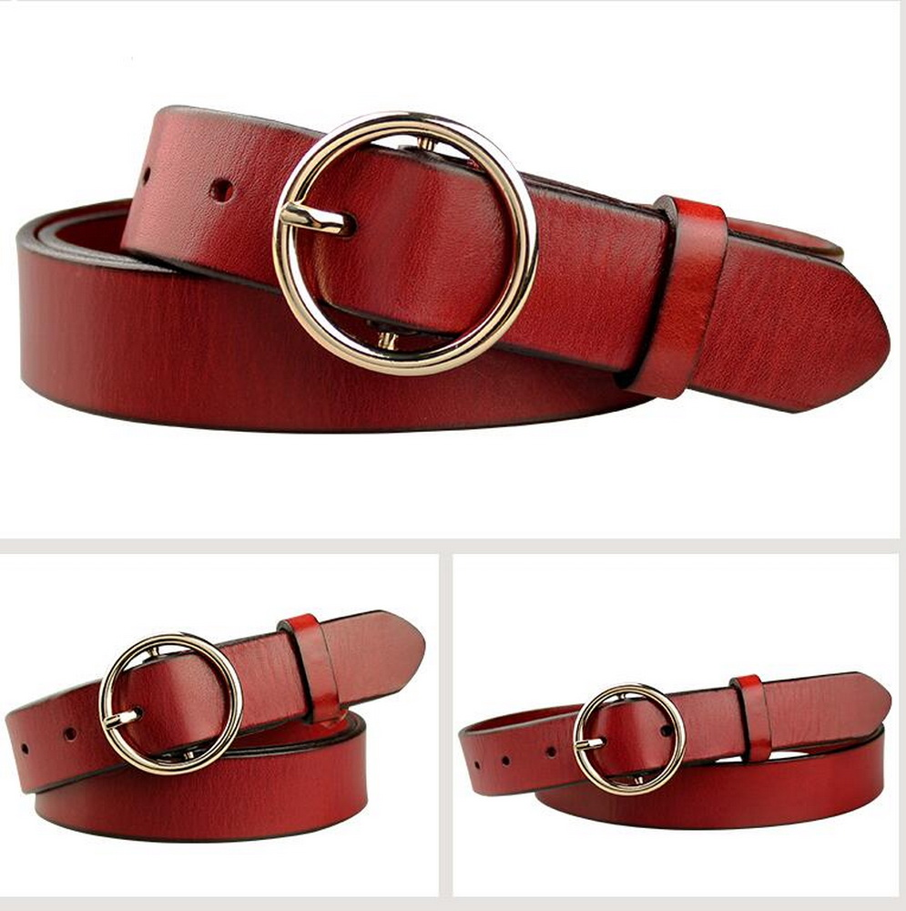 Fashion round buckle Lady and woman top genuine Leather belt,strong leather belt