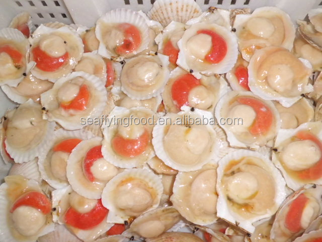 2015 New Crop Frozen Half Shell Scallops with Roe on