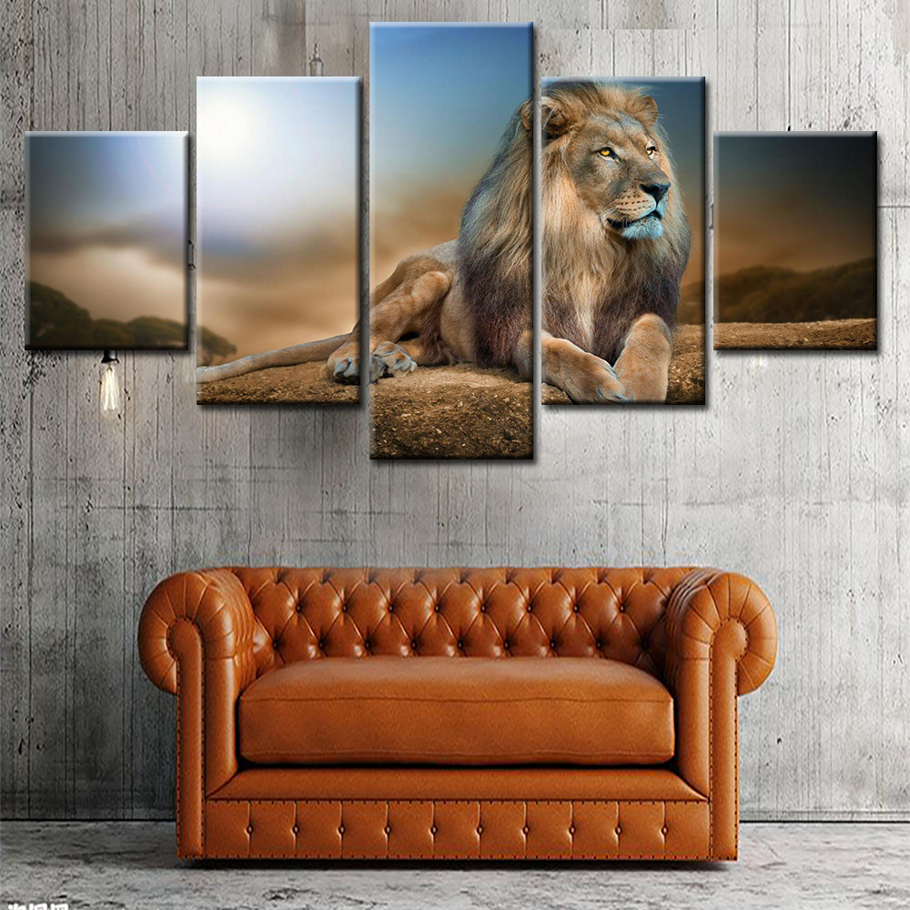 African Lion In The Sunset Posters For Living Room Wall Big Size Realist Loin Animals Decorative Pictures Drop Shipping