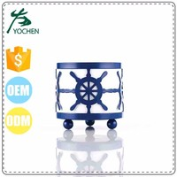 metal wick blue tealight candle holder for home decor