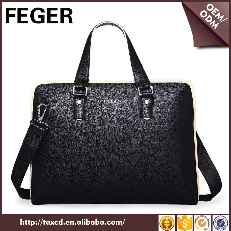 New arrival design custom popular style fashion blue black gift bag 100% genuine leather man bags in hand from china