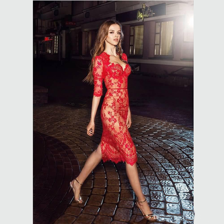 2018 Red Lace Knee Length Women Dress Wedding Guest Dress With