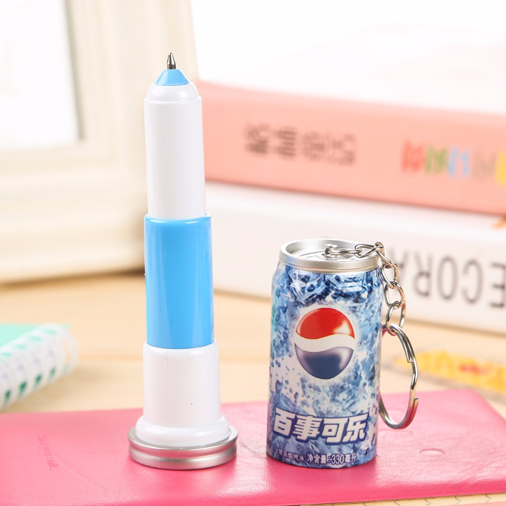 Cans style Ballpoint Pens Scalable plastic pen with Keychain Telescopic pens Creative stationery gifts Cans style keychain