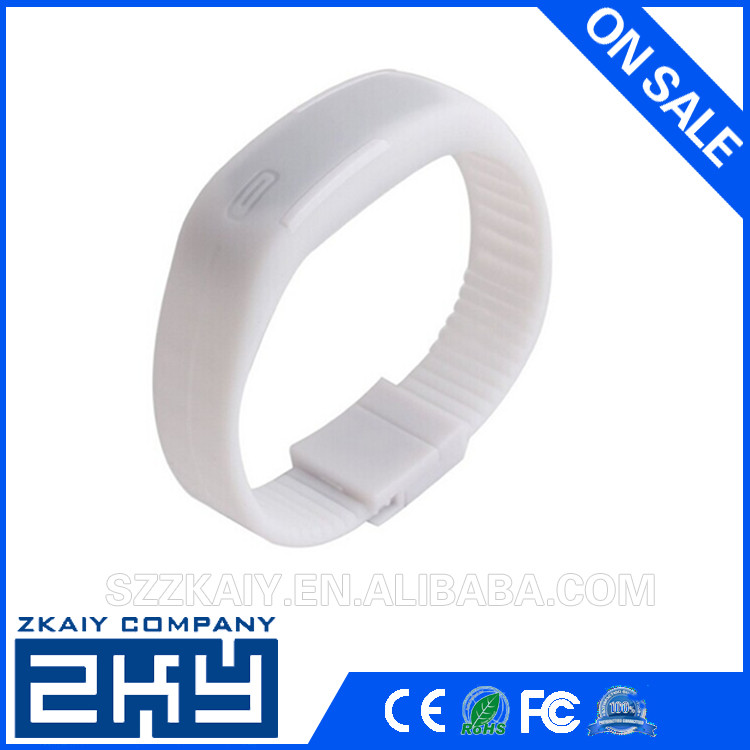 Touch Screen LED Silicone Watches Digital Wrist Watch Rubber Band white silicone watch