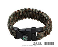2016 custom color fishing paracord survival bracelet with compass fire starter