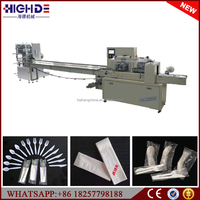 Automatic wet wipe napkin fork spoon cutlery packing machine manufacture