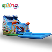 2017 commercial used china giant Inflatable water Slides Bouncer Dry Inflatable Slide for kids