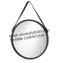 Diameter 50cm 55cm 60cm Round metal framed wall or door hanging wall mirror with leather strap