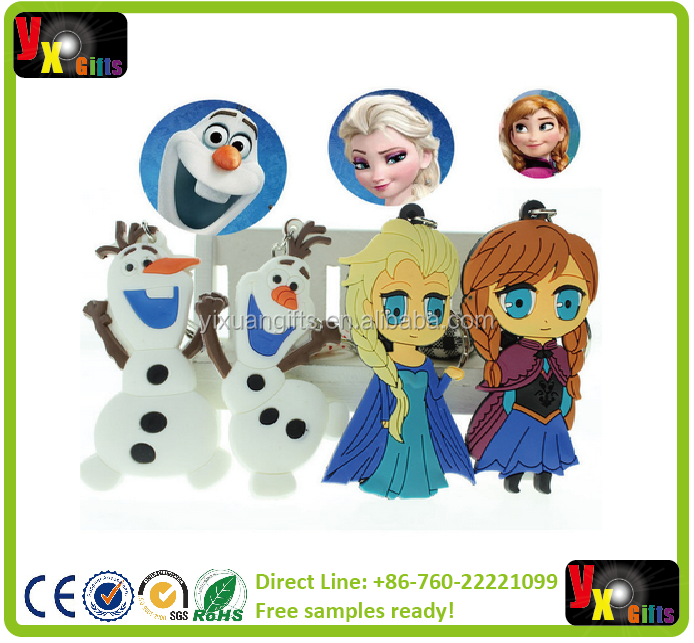 New Cartoon Movie Frozen keychain 8pcs/lot Princess Elsa Anna Olaf Keychains Dolls 4 Styles PVC Pendant Key Rings Gift