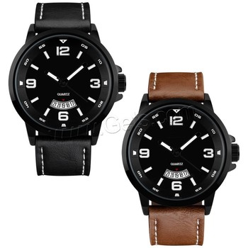 2016 Cowhide Men Black Watches Japanese movement watches 3ATM big dial watches men