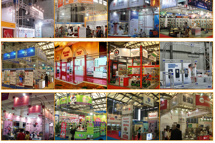 Black aluminium exhibition truss stand exhibitor trade show display booth