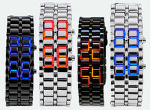 Hot Sale Black silver Lava LED Display Watch Iron Samurai Stainless Steel Watch For Men Women Sports Digital Watch.Sample is ok.