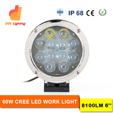 "2016 new 6"" 60w crees led driving light, rectangle waterproof and dust proof 60w led worklight for off road 4x4 mini tractor"