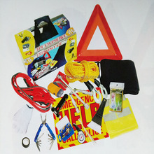 printing customers' logo universal road safety kit 46 pcs car emergency tool kits with warning triangle signs