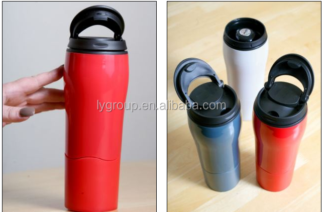 Double wall Suction Mug Never Fall Over Thermos <strong>Cups</strong>,plastic Mighty Mug Travel Car Mug Flask,550ml insulated never fall over mug