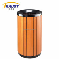 Outdoor 65L Wooden Stainless Steel Rain Bonnet trash container