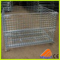 CE mesh basket, wire mesh cage, foldable mesh laundry container
