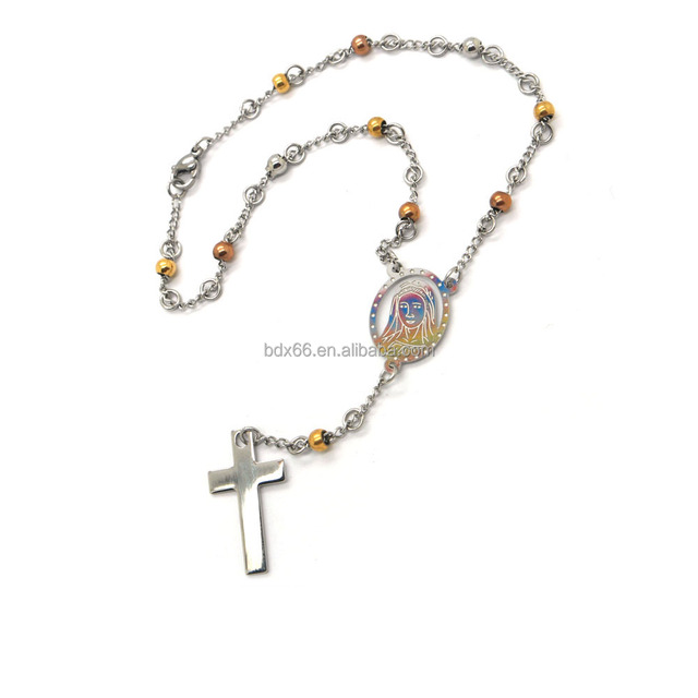 Handmade Catholic Stainless Steel Three Color Rosary Beads Prayer Bracelet With Christ Jesus cross crucifix Pendant Medals