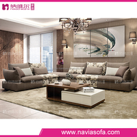 Living room furniture modern sectional 5 seat fabric sofa set designs with ottoman fabric sofa