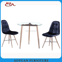 round glass and mental furniture sets for dining room