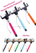 Factory price colorful selfie ttick monopod with wired for iphone for android phone