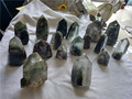 Hot selling Natural chlorite rock clear quartz crystal wands ,green ghost phantom quartz crystal points