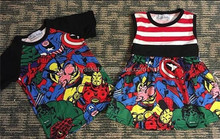 Summer Baby Frocks Heros Printed Patterns Kids Frock Designs Girls Dress And Boy Shirt Matching