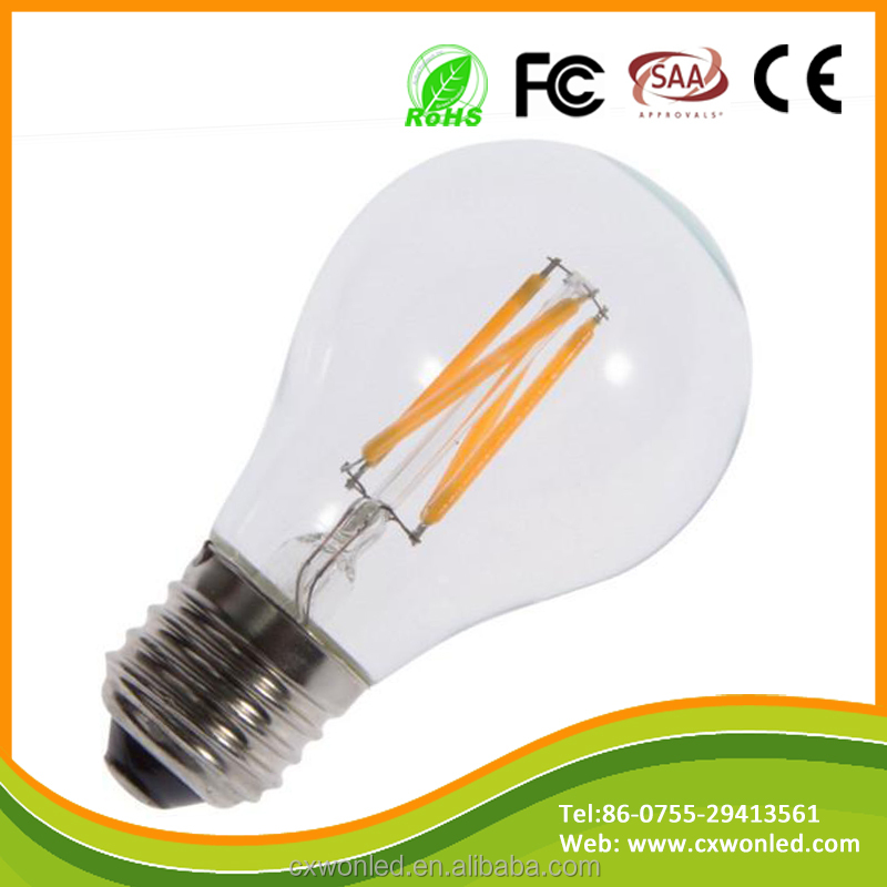 COB 2W 4W 6W 8W e27 led light bulbs warm white day light A60 Dimmable filament led bulb for home decoration