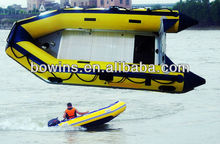 solid yellow aluminum inflatable boat, yellow hunting boat