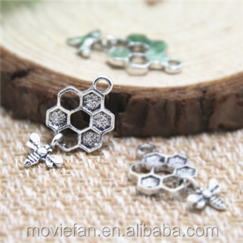 Bee and Honeycomb Charms Antique Tibetan silver Bee and Honeycomb Charms pendants 13 x 20 mm