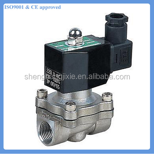 2S type SS304 stainless steel solenoid valve with DIN connector