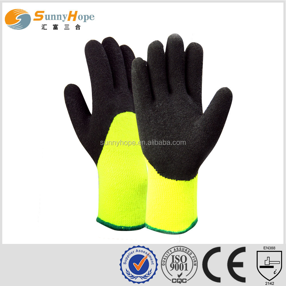 latex gloves 3/4 coated foam nitrile winter glove