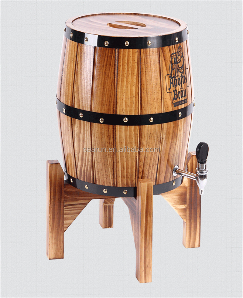 Vertical Wooden ice cooler barrel holder
