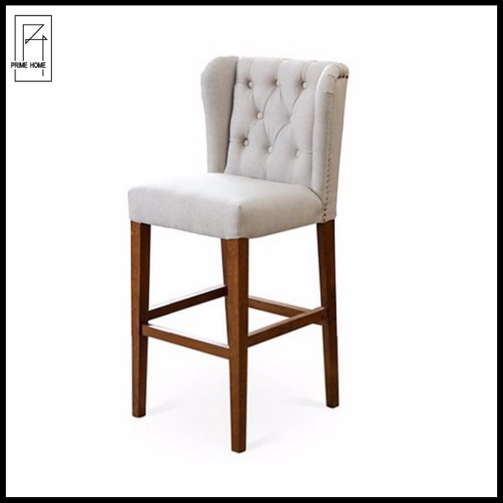 Antique French style button tufted wing back bar stool chair