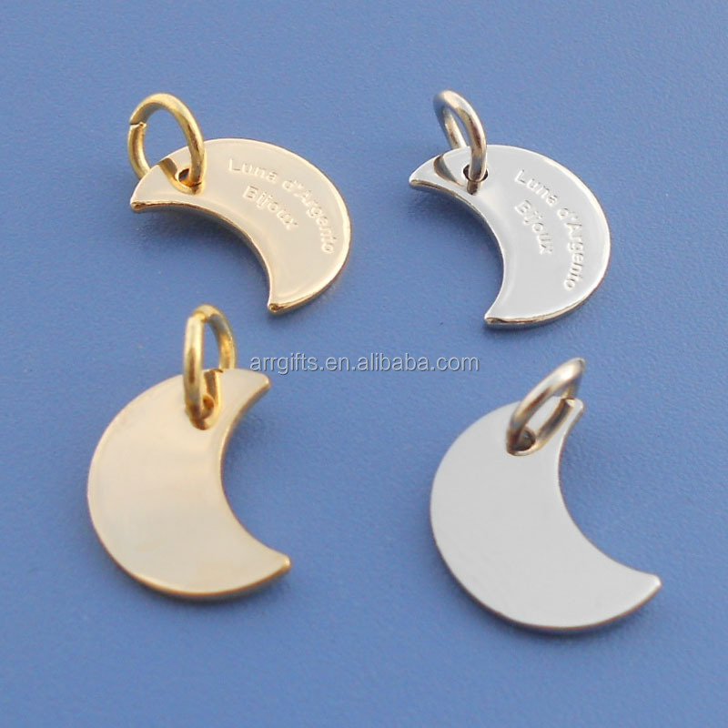 Moon Shape Metal Jewelry Charm Tag Gold & Silver