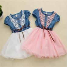 2017 korea <strong>girl's</strong> denim lace splicing <strong>dress</strong> little girl lovely princess <strong>dress</strong>