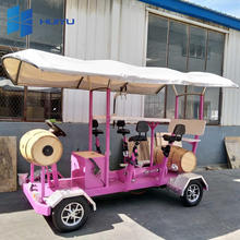Stylish Galvanized Carbon Steel High Quality Cheap Price City Tour Rentals Pedal Pub, 7 People Electric 4 Wheel Beer Party Bike
