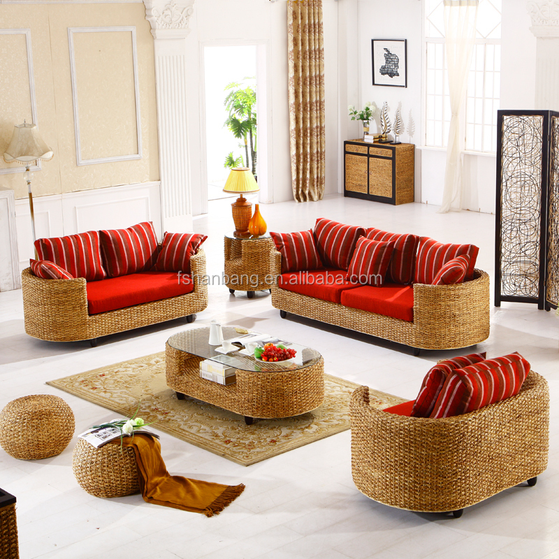 Contemporary Style Indoor Natural Rattan Seagrass Water Hyacinth Sea Weed Real Wicker