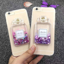 3D Perfume Bottle Design Dynamic Glitter Quicksand Mobile Phone Case for Iphone Samsung Cover