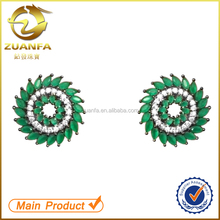 jewelry manufacturer china ladies 925 silver emerald stud earrings
