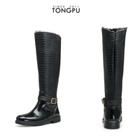 Knee high black PU material women's rain boots
