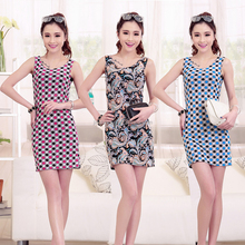 2017 new design Korea printed sexy women dresses , wholesale low price high quality lady dresses #OCW7004