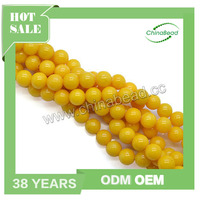Hot sale 10mm yellow mountain jade beads yellow semi precious stone