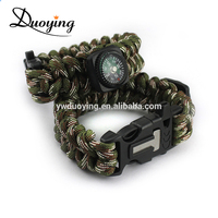 Black & Army Green Fire Starter Paracord Survival Bracelet with Compass
